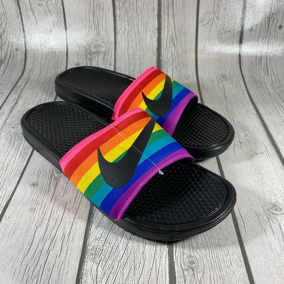 Nike Benassi Lgbtq Rainbow Mens Slides